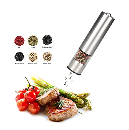 Ibunny Premium Stainless Steel Electric Pepper Grinder or Salt Grinder Mill, Battery Operated with Light and Adjustable Ceramic Grinder
