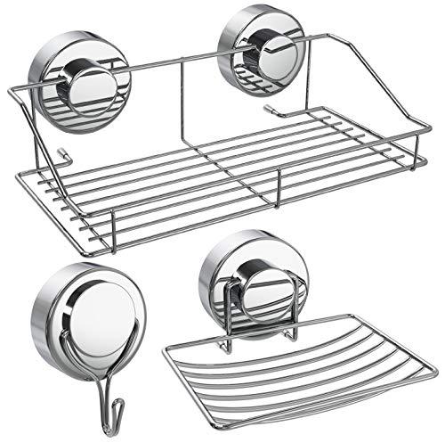 10' Ceramic Tile - Attmu 3 Pack Shower Caddy, Strong Suction Cup Bathroom Shower Rack, Shower Organizer Storage Shower Basket for Kitchen & Bathroom Accessories, Stainless Steel Holder for Shampoo, Conditioner, Soap