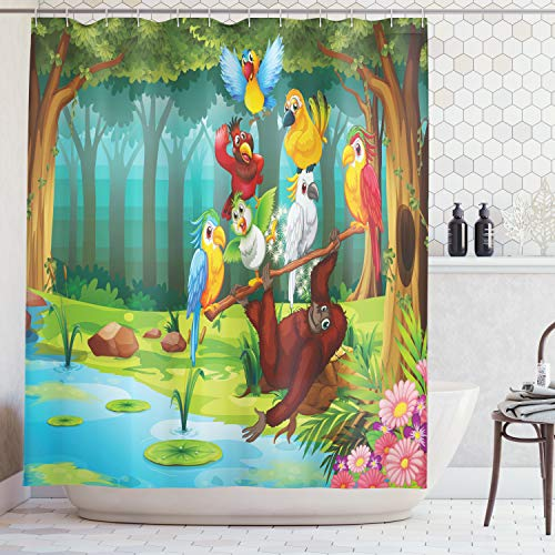 Ambesonne Forest Shower Curtain, Wild Chimpanzee Monkey Exotic Birds Parrot Animal in The Jungle on Tree Branch Print, Fabric Bathroom Decor Set with Hooks, 75 inches Long, Redbrown