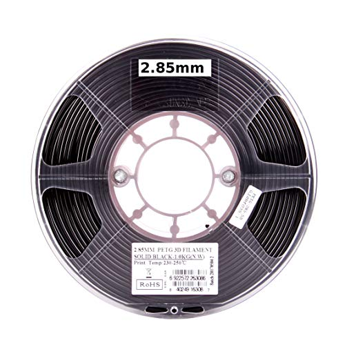 eSUN PETG filament 3mm Solid Black 1kg(2.2lb) Spool for Makerbot, Reprap, UP, Afinia, Flash Forge and all FDM 3D Printers, 3mm Solid Opaque Black Esun Supplies