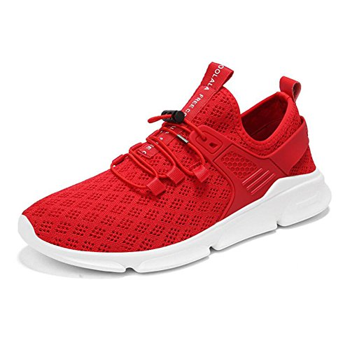 Lovers Tulle Sneakers 2018 Summer/Fall Comfort/Breathable / Hollow Knit Sports Fashion Casual Running Shoes Men/Ladies Low-top Casual Shoes/Travel Shoes (Color : Red, Size : 48) by CAI