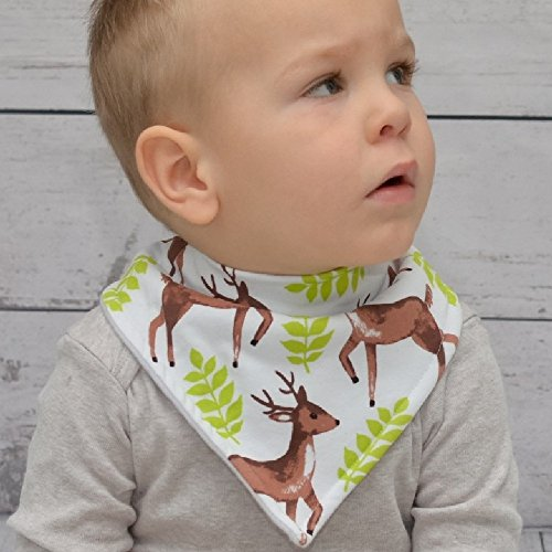 Stadela Baby Adjustable Bandana Drool Bibs for Drooling and Teething Nursery Burp Cloths 4 Pack Unisex Baby Shower Gift Set for Girl and Boy – Enchanted Forest Woodland Animal Fox Bear Deer Raccoon by Stadela (Image #3)
