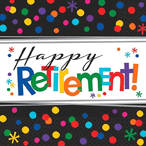 Amscan 511552 33 cm Happy Retirement Luncheon Napkins Amscan Internatinal Ltd