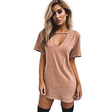 ef3af642b Elite99 Womens Choker V Neck T-Shirt Dress Long Top Ladies Casual Party Mini  Dress Blouse: Amazon.co.uk: Clothing