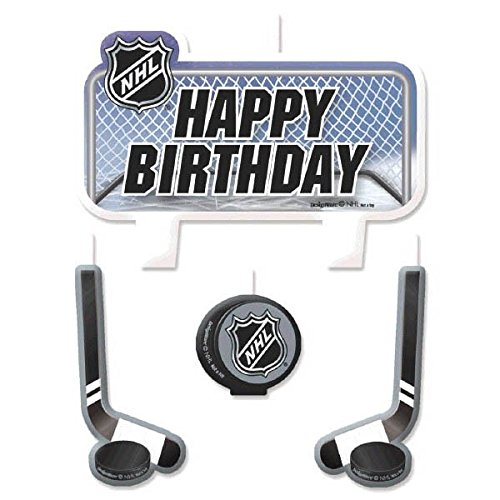 Sports and Tailgating NHL Party NHL Ice Time! Birthday Candle Set Decoration, Wax, 2