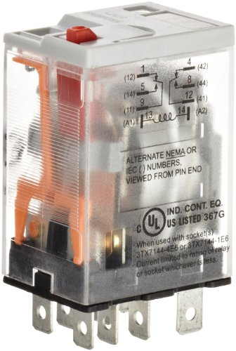 (Premium Plug In Relay, Square Base, Narrow, Mechanical Flag, Push To Test, Lock Down Door, LED, DPDT Contacts, 20A Contact Rating, 240VAC Coil Voltage)
