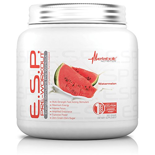 Metabolic Nutrition, ESP, Energy and Endurance Stimulating Pre Workout, Pre Intra Workout, High Energy and Mental Focus, Stimulating Workout Supplement, Watermelon, 300 Grams (90 Servings)
