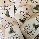 """You Warm Our Hearts Pinecone firestarter Thank you (My SMALL tag) 1 1/8"""" x 2"""" set of 25 Cardstock tags"""