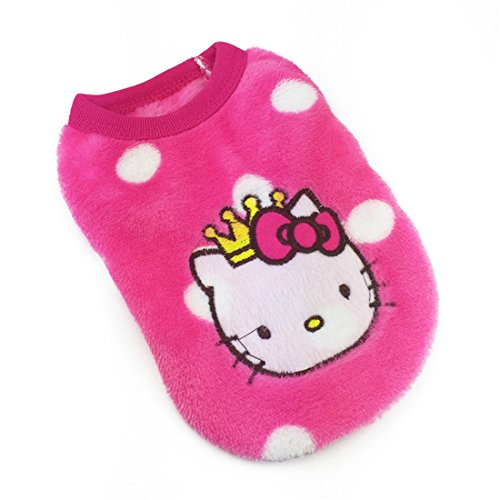 MD New Cartoon Teacup Dog Clothing Baby Pet Clothes Puppy Winter Warm Thick Sweater (XXXS, Pink)