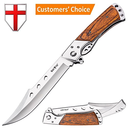 Hunting Folding Knife with Rosewood Handle - Tactical EDC Knife - Foldable Long Blade Pocket Knife - Big Blade Folding Knife - Grand Way 4172 - Knife Edc Folding