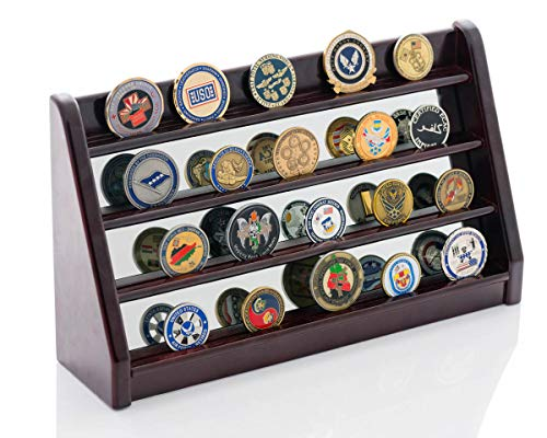 Challenge Coin Display Stand - Mirrored Challenge Coin Holder Is A Great Gift For Military, Firefighters & Police - Makes Memorabilia Coins Pop - Case Also Displays Collectible Casino Poker Chips