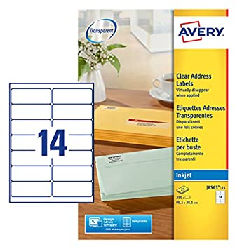Avery J8563 25 Self Adhesive Clear Addressmailing Labels 14 Labels