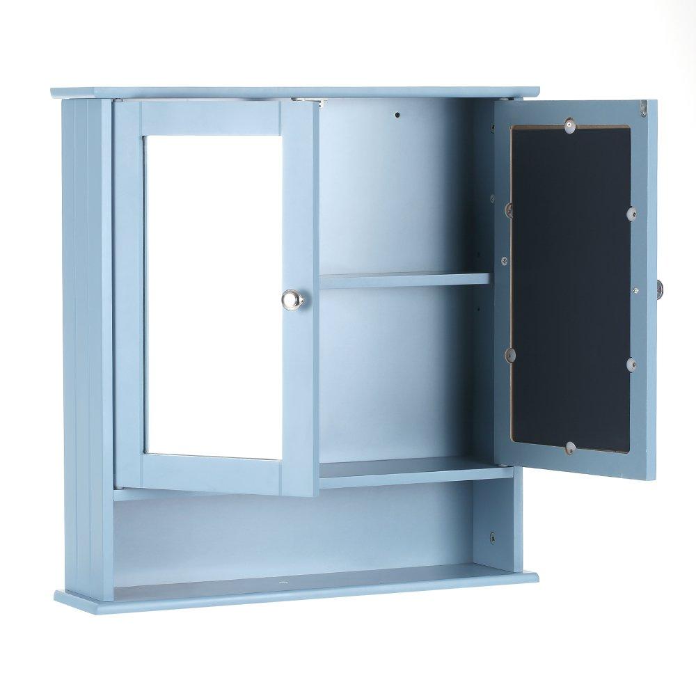 Amazon.com: iKayaa 2-Door Wall Mounted Cabinet with Glass Doors and ...