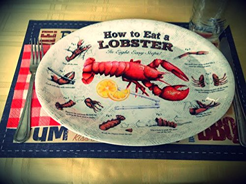 4 Lobster Plates OVAL Plastic How To EAT LOBSTER Diagram