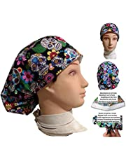 Scrub hat theatre cap Mexican skull for long hair with sweatband y ajutable to your liking. Handmade. Surgery, Nurse, Veterinary, dentist, Cook