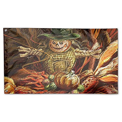Thanksgiving Scarecrow Home Garden Flags Eye Psychedelic Pattern Polyester Flag Indoor/Outdoor Wall Banners Polyester Garden Flag 3x5 Foot
