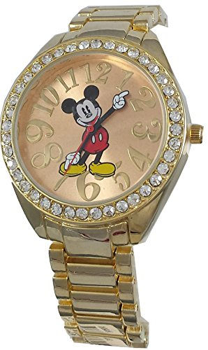 Disney Women's Mickey Mouse Rhinestone Accent Gold-Tone Bracelet Watch MK2255 (Mickey Tone Mouse Gold)