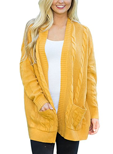 HOTAPEI Women's Casual Open Front Cable Knit Cardigan Long Sleeve Sweater Coat With Pocket