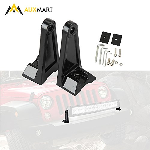 Light Double Bar - AUXMART Side Mounting Brackets for Universal Light Bar Double Row Straight or Curved LED Light Bar (Pack of 2)