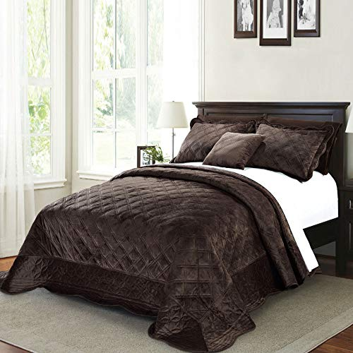 Serenta Super Soft Microplush Quilted 4 Piece Bedspread Set, Queen, Chocolate (Chocolate Bedspread)