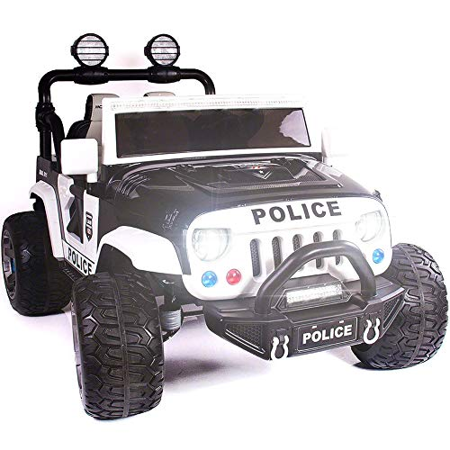 2019 Two (2) Seater Ride On Kids Truck w/ Remote Control | Large 12V Power Battery Licensed Kid Car to Drive with 3 Speeds, Leather Seat, Foam Rubber Tires - Police