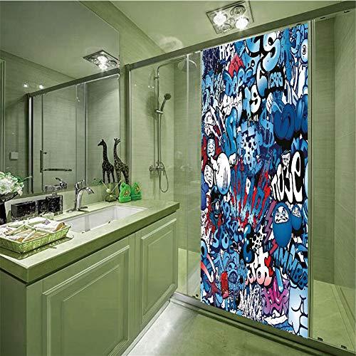 No Glue Static Cling Glass Sticker,Modern Decor,Teenager Style Image Wall Street Graffiti Graphic Colorful Design Artwork,Multicolor,35.43