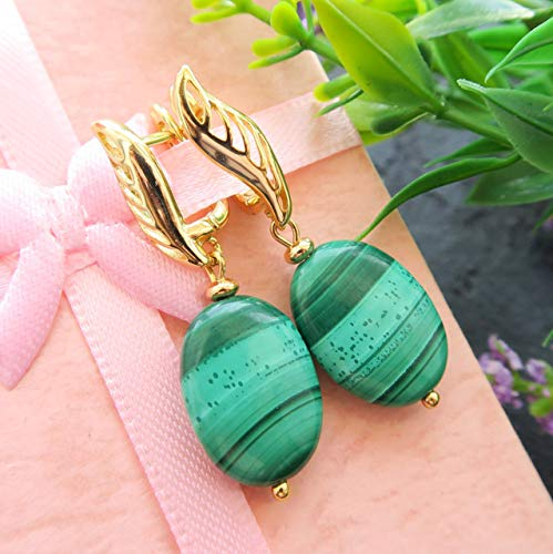 Oval malachite earrings with natural green stone and gold plated metal - handcrafted gift idea for Mother -