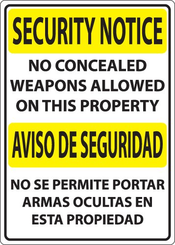 ZING Concealed Carry Sign, Security Notice No Weapons, Available in different Sizes and Materials, Aluminio reciclado, Rojo,...