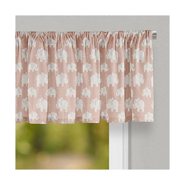 Glenna Jean Elephant Herd – Blush Curtain Valance 70″W x18″H for Kids Window