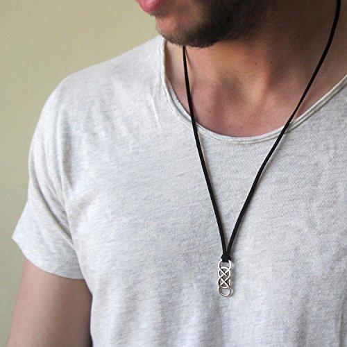 Pendant Black Leather Necklace - Mens Double Infinity Leather Necklace , Eternity Necklace