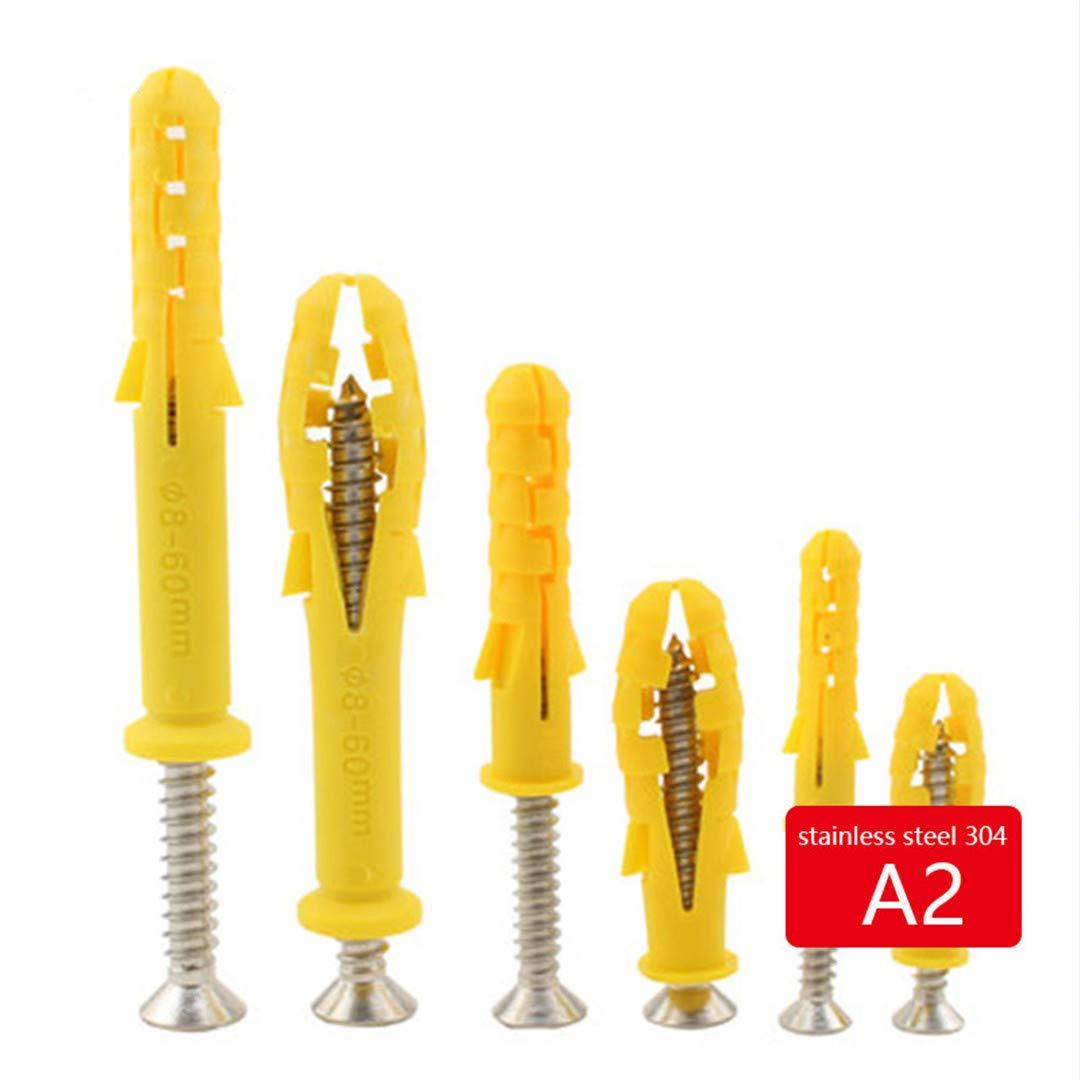 100Pc M630 Sleev Nylon Wall Plug Expansion Tube Screw Bolts Plastic With Screw M6 30mm Set A 100pcs