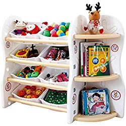 Gupamiga Toy Storage Organizer for Kids Collection Rack of Children Deluxe Plastic Bookshelf and Basket Frame Sundries with 8 Toy Organizer Bins Bins (A+C)