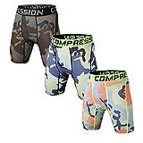 Best Mens Compression Shorts - Holure Men's 3 Pack Sport Compression Shorts,Brown,Blue,Green,Stripe,L Review