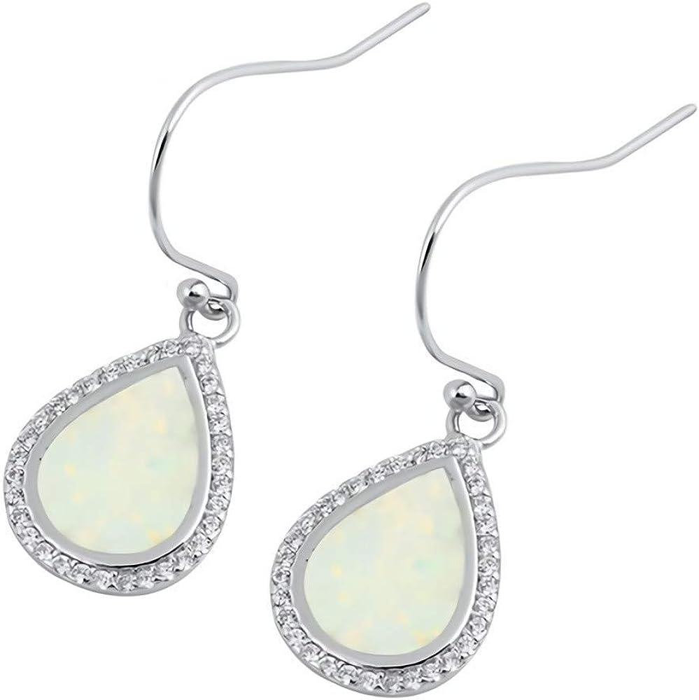 Glitzs Jewels 925 Sterling Silver Created Opal Earrings Stingray | Cute Jewelry Gift Blue