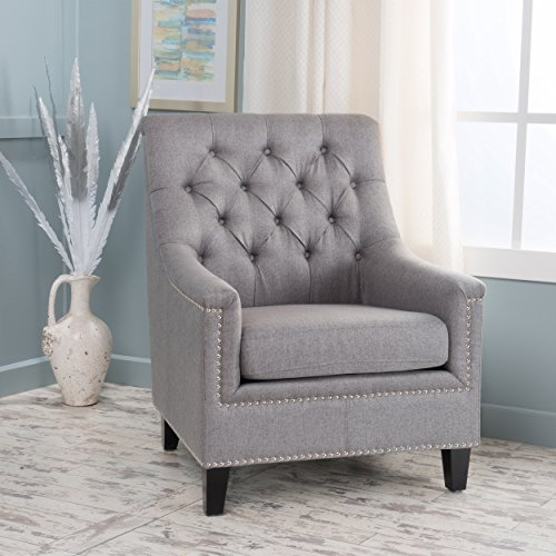Christopher Knight Home 300042 Jaclyn Tufted Fabric Club Chair Grey