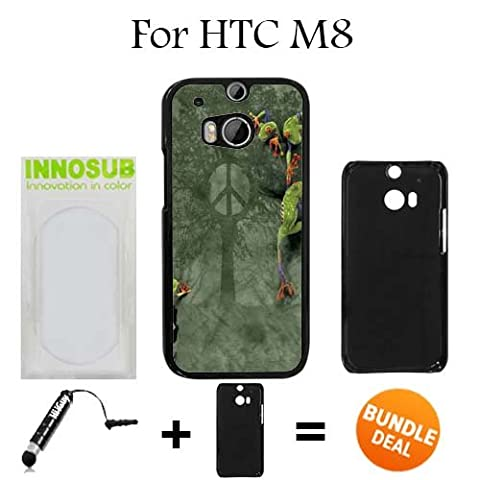 Peace Tree Frog Custom HTC ONE M8 Cases-Black-Plastic,Bundle 2in1 Comes with Custom Case/Universal Stylus Pen by (Htc One M8 Case Frog)