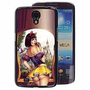 A-type Arte & diseño plástico duro Fundas Cover Cubre Hard Case Cover para Samsung Galaxy Mega 6.3 (Sexy Short Skirt Lips Sensual Woman Girl)