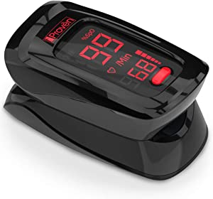 iProven Pulse Oximeter Fingertip - Blood Oxygen (O2) Saturation Level Monitor - with Heart Rate Detection - Oximetro De Pulso - Finger Oximeter with Pulse Indicator - Best Accuracy by OXI-27 Black