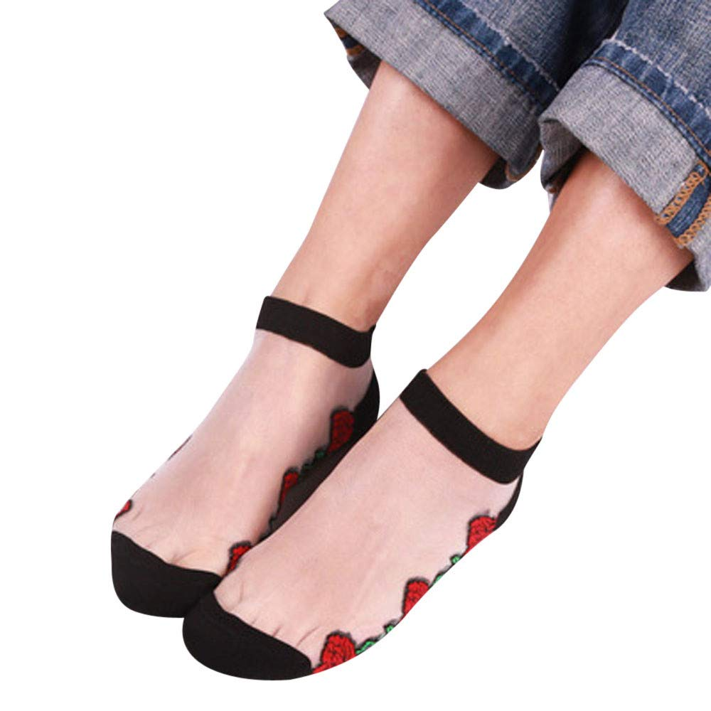 Pausseo Summer Women Ladies Sheer Silky Glitter Transparent Short Stockings Ankle Socks Soft Comfortable Skateboard Cotton Sweat Deodorant Anti-Slip Girls Bed Sleep Skateboard Casual Sock