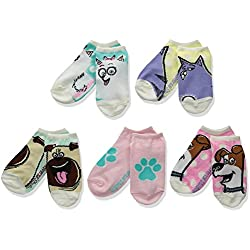 Secret Life of Pets Girls' Little 5 Pack No Show Socks, Assorted, 6-8.5