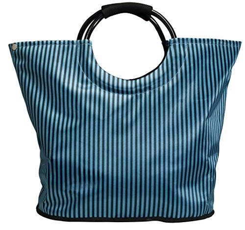 Shoppingtasche, Freizeittasche, Strandtasche, erweiterbar, Farbe blau im Satinlook, Trendyshop365