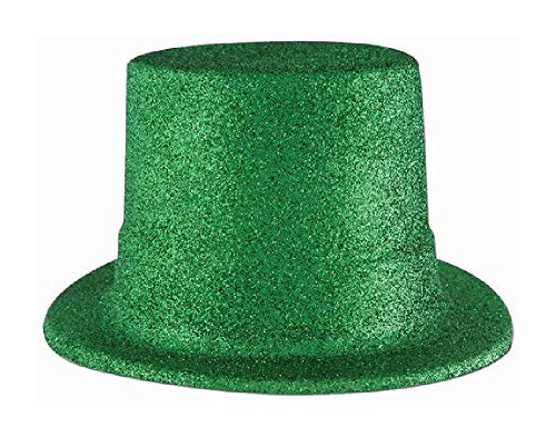 Bargain World Green Glittered Top Hat (with Sticky Notes)