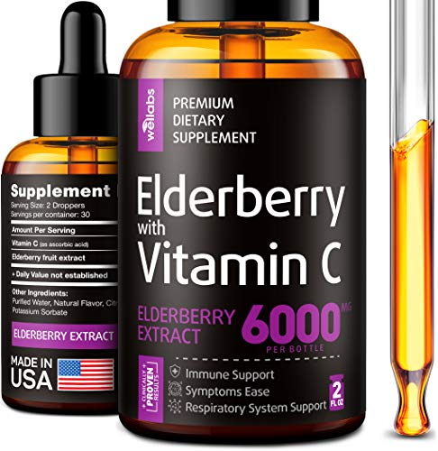 Elderberry Syrup – Organic Elderberries Extract 6000mg – Immune Support Sambucus Elderberry Syrup – Formulated in USA…