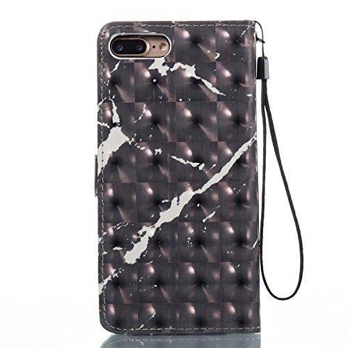 iPhone 8 Plus Hülle Schwarzer marmor PU Leder Wallet Handytasche Flip Etui Schutz Tasche mit Integrierten Card Kartensteckplätzen und Ständer Funktion Für Apple iPhone 8 Plus + Zwei Geschenk