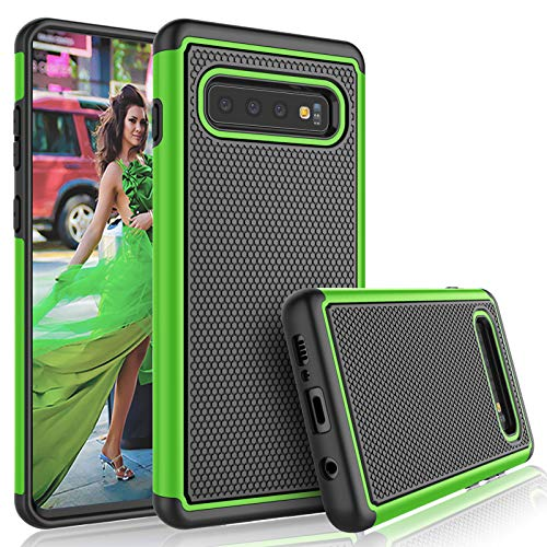 Tekcoo for Galaxy S10 Case, for Galaxy S10 Cute Case, [Tmajor] Shock Absorbing [Green] Hybrid Rubber Silicone Plastic Scratch Resistant Rugged Solid Bumper Grip Sturdy Hard Case Cover for Samsung S10