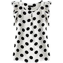 EFINNY Women Chiffon Casual Polka Dot Vest T-Shirt Short Sleeve Blouse Crop Tops