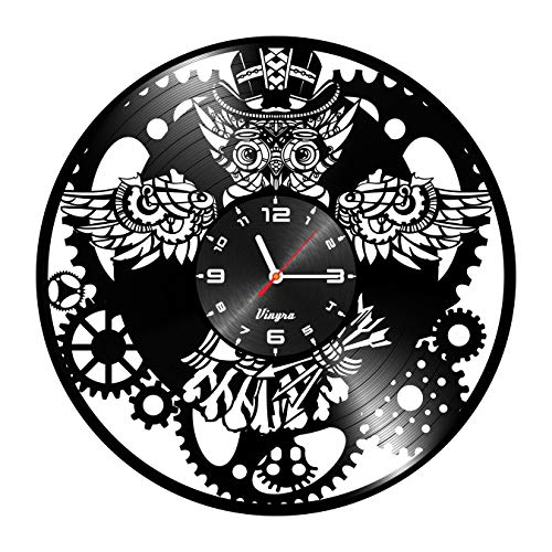 Cheap Steampunk Clock – Owl Vinyl Clock – Steampunk Owl – Industrial Wall Clock – Steampunk Gears Decor Retro Wall Gothic Grandfather Vinyl Gift Victorian Wall Decal Steampunk Novelty Owl Vinyl Clock Black