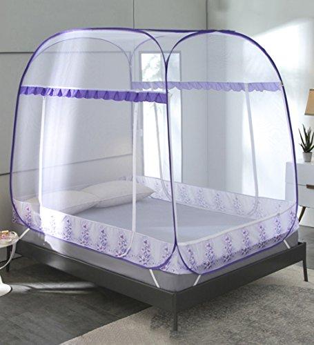 LIQICAI Moskitonetz Einfache Einstellung starker elastischer Stahldraht Insektenschutz-Bettüberdachung, Zwei Arten Zwei Größen Mehrfarbig Optional (Farbe   lila , größe   1.5 x 1.95 x 1.65m)