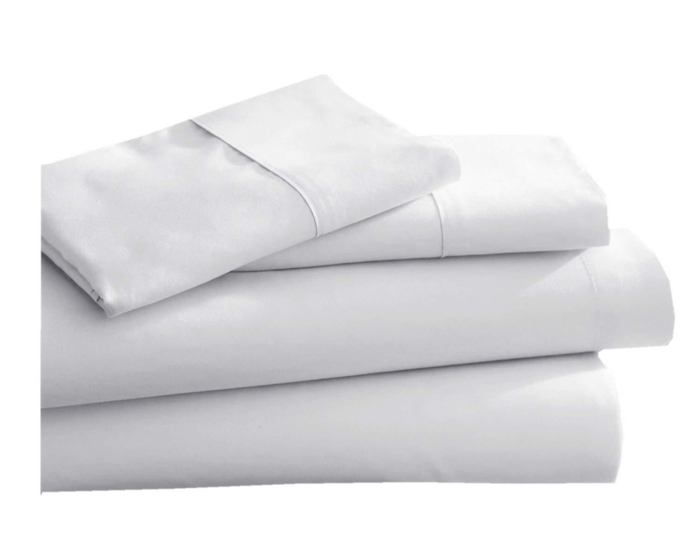 CC/&DD HOME FASHION 100/% Cotton,400TC,Single Fitted Sheet,White,Twin