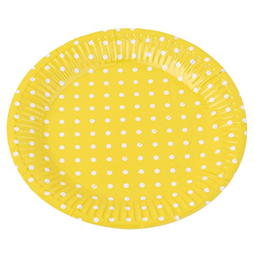 Dolland Yellow Polka Dots Paper Plates Disposable Party Supplies Set Decorative Tableware For Birthday Parties,Yellow by Dolland (Image #3)